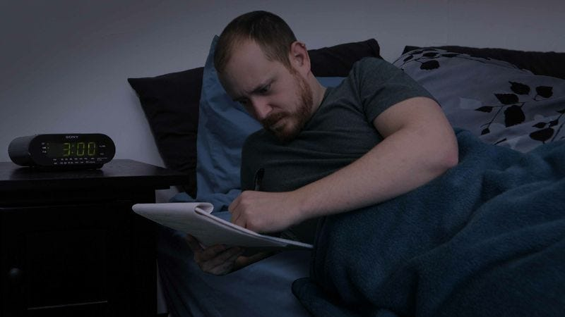 Illustration for article titled Inspired Man Bolts Out Of Bed At 3 A.M. To Jot Down Great New Worry