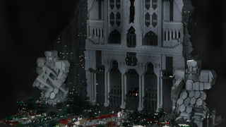 Illustration for article titled The Gates of Lonely Mountain Made From 55,000 LEGO Pieces