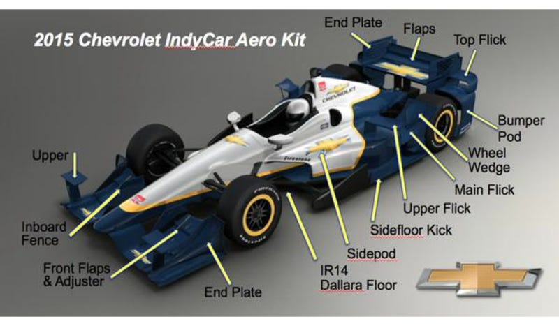 Illustration for article titled The GM IndyCar Aero Kit Looks Like A Big-Boned F1 Car From 2008