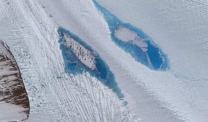 Lakes on Langhovde Glacier. Satellite image courtesy of DigitalGlobe, Inc.