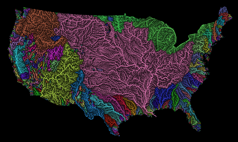 Map of America's River Basins Show Our Nation's Hidden Beauty