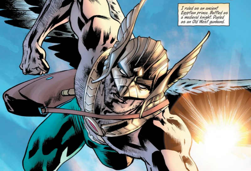Hawkman thinks about his past lives in a scene from Hawkman #1.