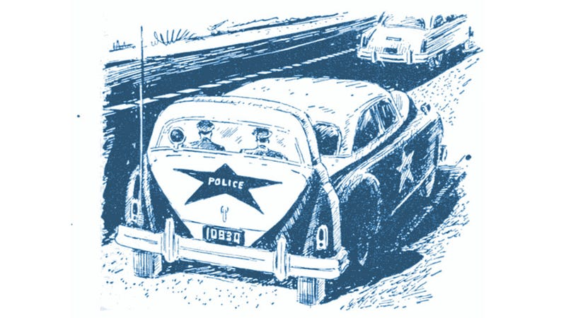 Illustration for article titled Fake Cop Car Hiding A Real Cop Car Is Making My Brain Hurt