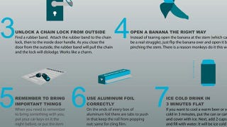 Illustration for article titled 35 MacGyver Tips, Clever Uses, and Other Life Hacks in One Infographic