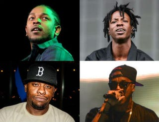 Top row: Kendrick Lamar; Joey Bada$$. Bottom row: Scarface; Lupe Fiasco.Top row: Bennett Raglin/Getty Images for Power 105.1's Powerhouse 2015; Tim P. Whitby/Getty Images. Bottom row: Bob Levey/Getty Images for UrbanDaddy; Jason Davis/Getty Images.