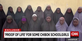 "Image from ""proof of life"" video showing 15 of the girls kidnapped from Chibok, NigeriaCNN screenshot"