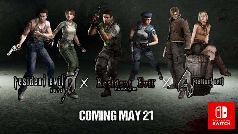 Illustration for article titled Resident Evil 1, 4, And 0 Are Coming To Switch On May 21