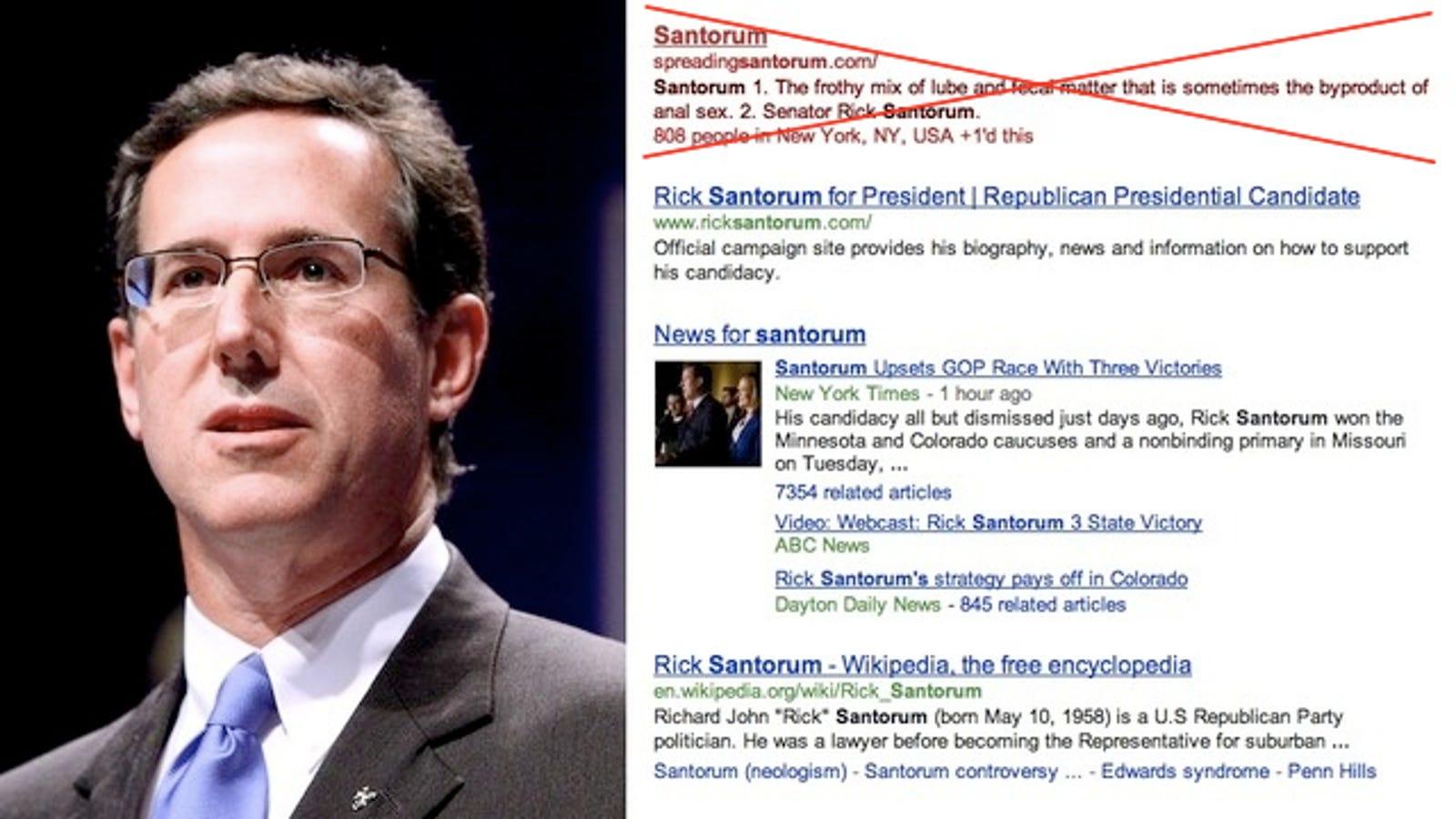 Santorum frothy lube fecal anal sex