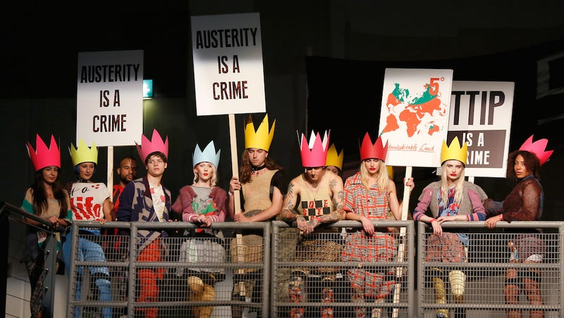 Illustration for article titled Dame Vivienne Westwood Held a For-Real Protest at London Fashion Week