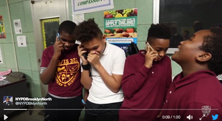 Brooklyn, N.Y., students participate in mannequin challenge to fight bullying.Twitter video screenshot