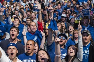 Kansas City Royals fans cheer at the Power & Light District during Game 7 of the World Series Oct. 29, 2014, in Kansas City, Mo.Julie Denesha/Getty Images