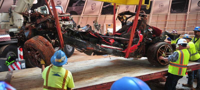 Illustration for article titled Some Sinkhole-Damaged Corvettes May Not Be Fixable