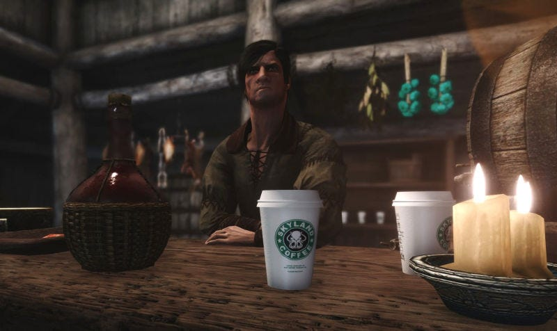 Illustration for article titled Diseñan un mod de Skyrim para reírse de la famosa taza de café de Juego de Tronos