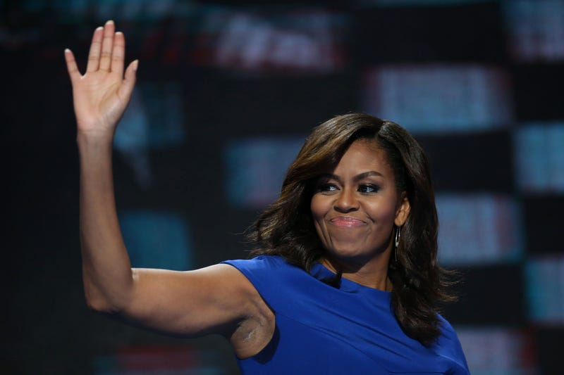 First lady Michelle Obama waves after speaking during the Democratic National Convention in Philadelphia on July 25, 2016.Daniel Acker/Bloomberg via Getty Images