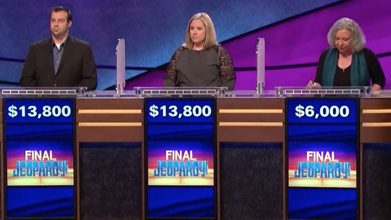 Illustration for article titled Last night's Final Jeopardy! was a disaster for all concerned