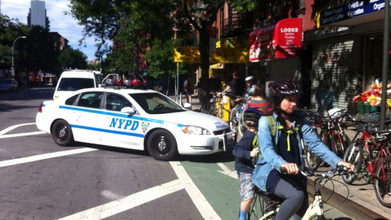 Illustration for article titled New Tumblr Shames Cops (And One Citi Bike Van) Parked In Bike Lanes