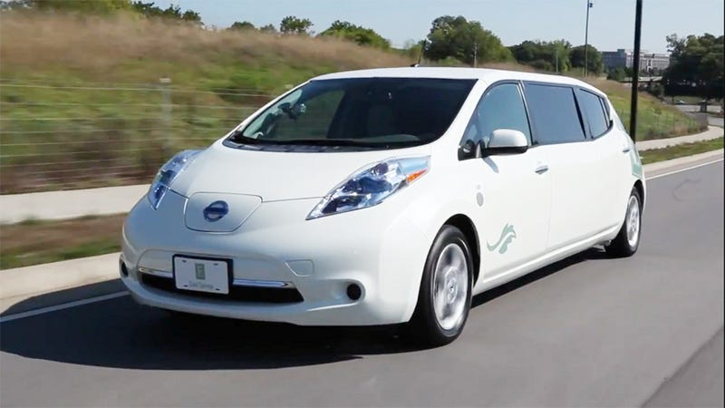 Illustration for article titled This Stretched Nissan Leaf EV Is Perfect For Limousine Liberals