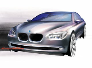 Illustration for article titled 2009 BMW 7-Series Sketches Reveal The Slightly More Radical Path Not Taken