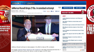 NFL.com's story on JaMarcus Russell's weight loss features - what else? - a KFC add in the background.