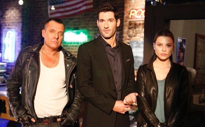 "Tom Sizemore, Tom Ellis, and Lauren German on ""Lucifer."" Photo by Michael Courtney/FOX"
