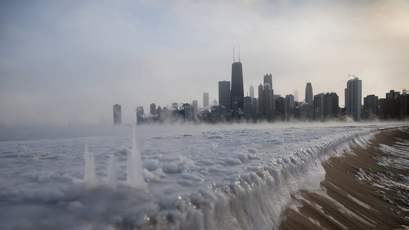 The Chicago skyline in front of icy Lake Michigan during a January 2014 cold snap.