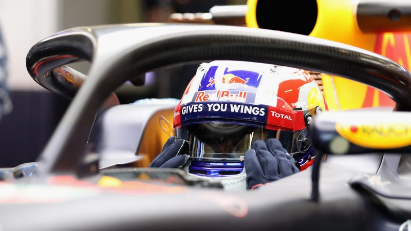 Red Bull test driver Pierre Gasly running the halo. Photo credit: Mark Thompson/Getty Images
