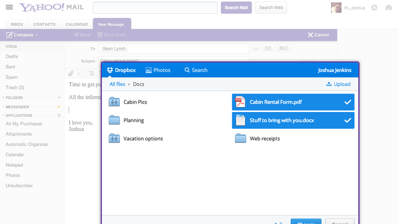 Illustration for article titled You Can Access Dropbox From Inside Yahoo Mail Now