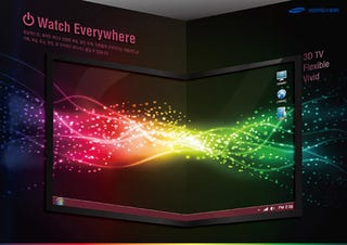 Illustration for article titled Flexible OLED 3DTV From Samsung Wraps Around Walls...Or Anything, Really