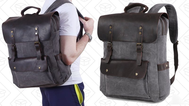 Lifewit Canvas and Leather Backpack | $30 | Amazon | Promo code 6PHRSQOQ