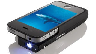 Illustration for article titled Brookstone's Pocket Projector iPhone Case Adds More Than Just Bulk