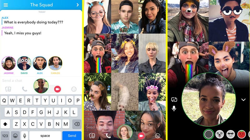 Illustration for article titled Snapchat Announces Group Video Chat Feature That Instagram's Probably Going to Steal