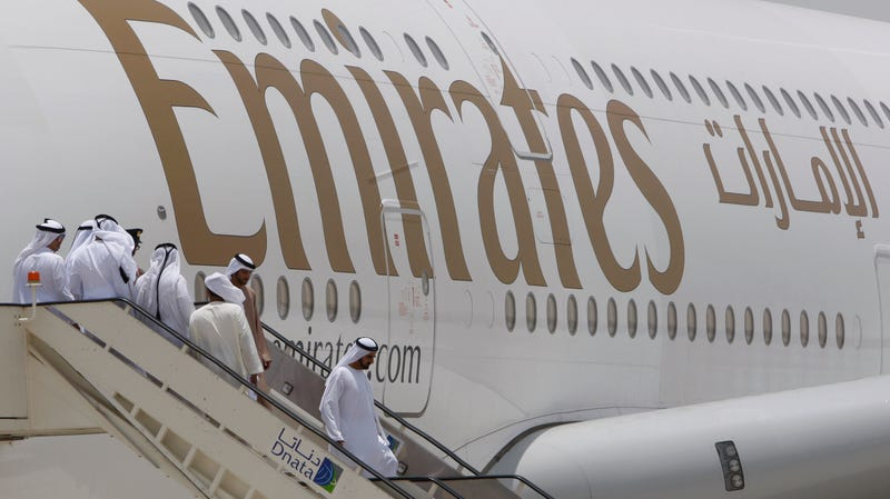 Sheik Mohammed bin Rashid al-Maktoum, ruler of Dubai and vice president and prime minister of the UAE, exiting an Emirates A380 flight in Dubai in 2010.