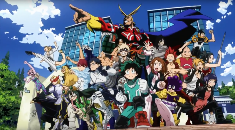 Group shot of all the main heroes from My Hero Academia