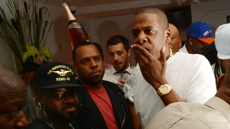 Producer Jermaine Dupri, producer No I.D., and rapper Jay-Z attend Moet Rose Lounge Presents Nas' Life Is Good on July 16, 2012 in New York City.