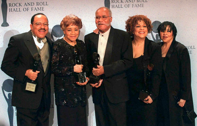 The Staple Singers—Pervis, Cleotha, Pops, Mavis and Yvonne—at the Rock and Roll Hall of Fame induction ceremony in New York City. Yvonne Staples, whose voice and business acumen powered the success of her family's Staples Singers gospel group, has died at age 80.