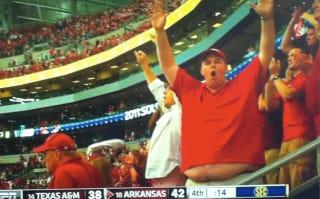 Illustration for article titled A Big Arkansas Comeback Called For A Shot Of A Big Arkansas Fan