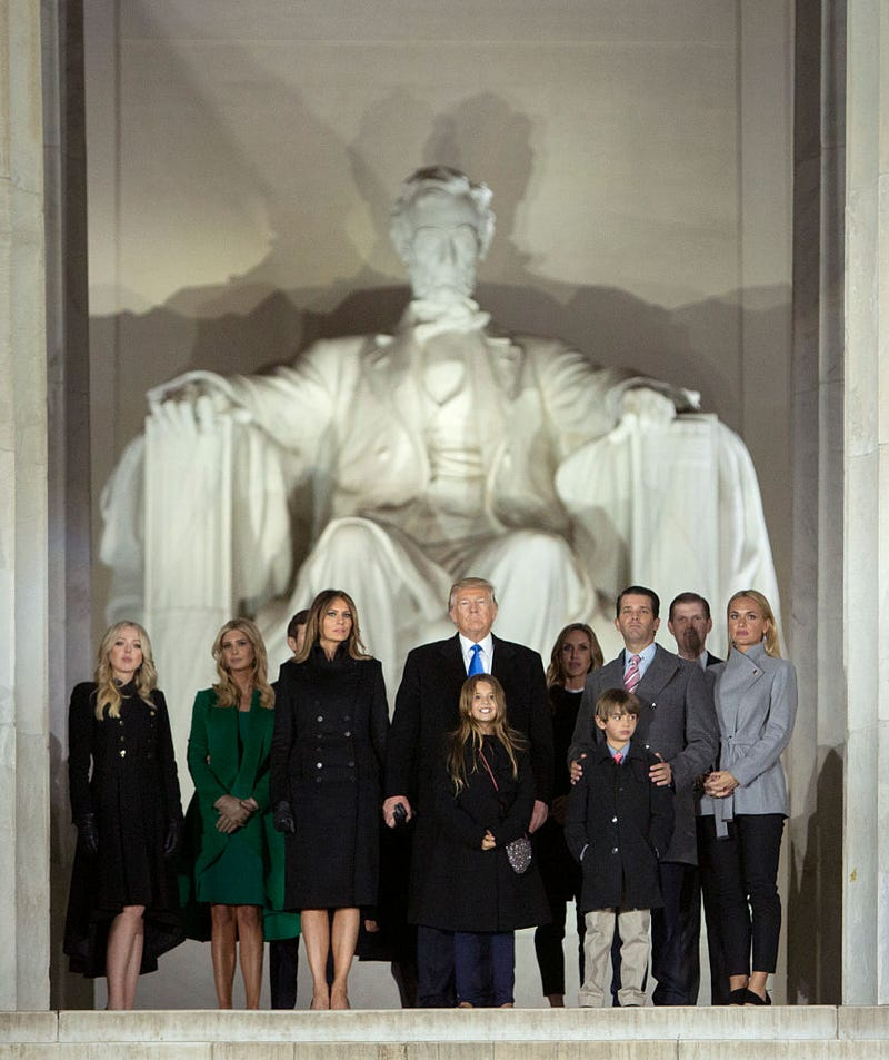 President-elect Donald J. Trump and family stand in front of the Lincoln Memorial at the inaugural concert Jan. 19, 2017, in Washington, D.C. (Chris Kleponis-Pool/Getty Images)
