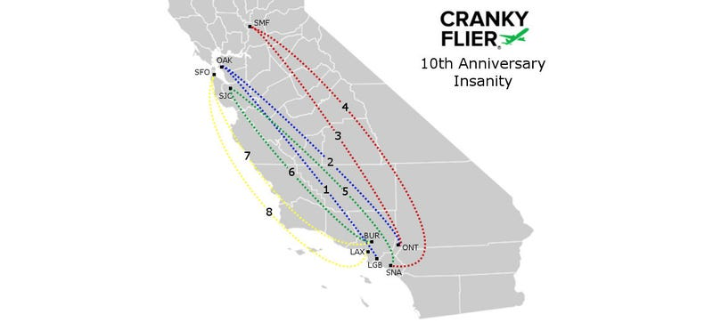 The Cranky Flier's travel route, re-posted from his website so you can see how bonkers this all is.