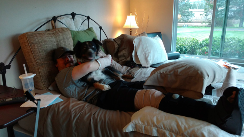 Alex Lovell Recovering with his dog.