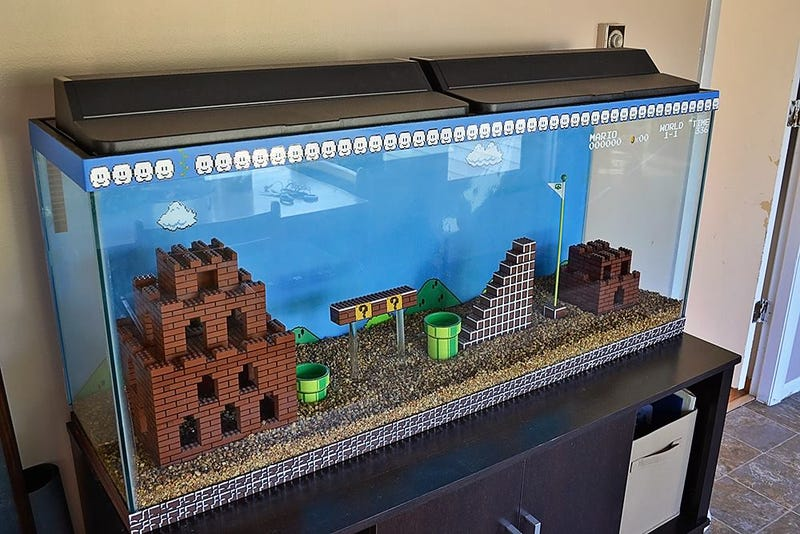 Illustration for article titled This Lego Super Mario Bros aquarium is the coolest aquarium of all time