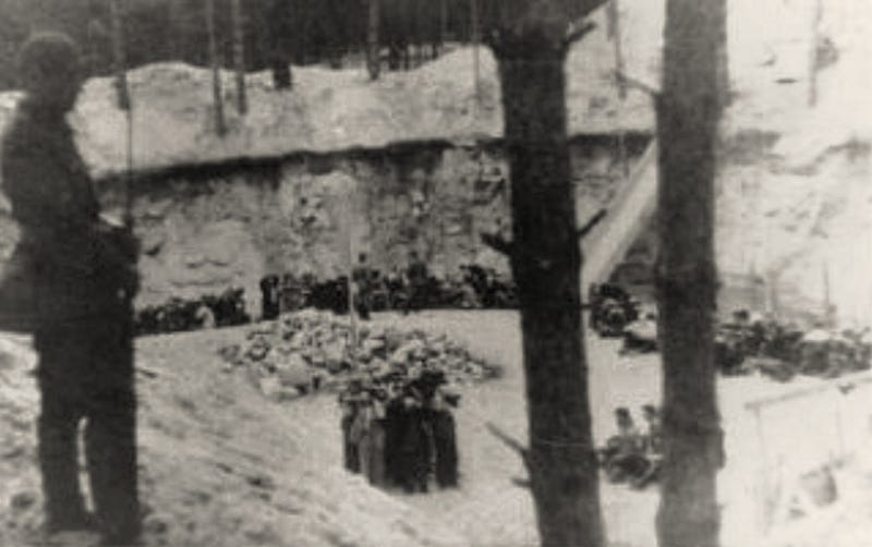 A Ponary execution pit in which Holocaust victims were shot, July 1941. (Source: Chronicles of the Vilna Ghetto)