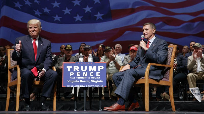 Trump and retired general Mike Flynn at a town hall in Virginia Beach, September 6, 2016. Photo via AP