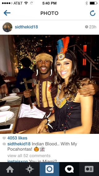 """Illustration for article titled Seahawks' Sidney Rice dresses as """"Indian"""" for Halloween. Mocks fans who question him."""