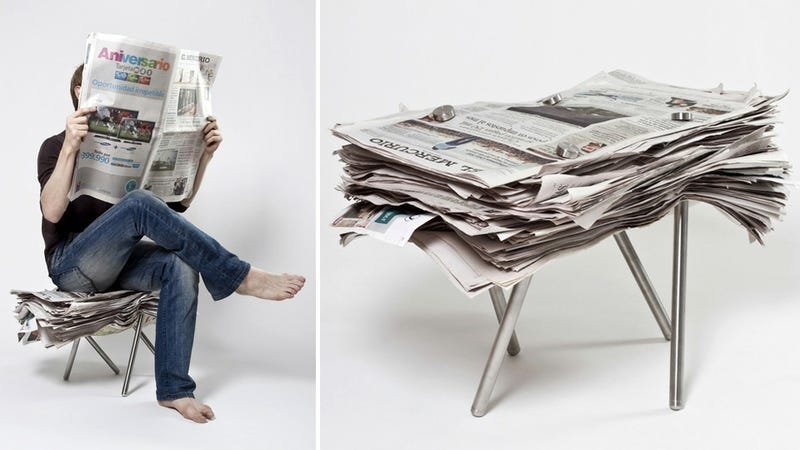 Illustration for article titled Screw-On Metal Legs Turn Any Pile of Crap Into a Comfortable Seat