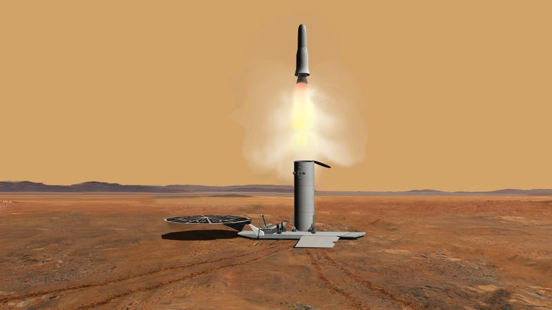 Artist's depiction of a sample-containing spacecraft taking off from Mars.