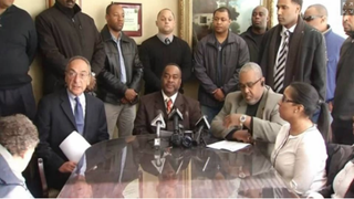 Members of the Bridgeport Guardians, a Connecticut minority-officers group, held a press conference Feb. 18, 2015, to discuss a letter that threatens a black officer and that they believe came from inside the Bridgeport Police Department.  WVIT-TV screenshot