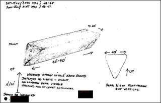 "Illustration for article titled British Government Declassifies Its UFO Files, Reveals ""Flying Toblerone"" Sightings"