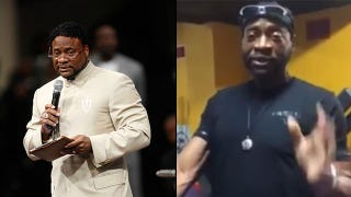 Bishop Eddie Long in past (left) and more recent photosFacebook; YouTube screenshot