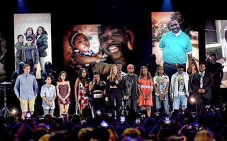Teens whose loved ones died because of gun violence join actress Jessica Alba onstage at the Teen Choice Awards on July 31, 2016.Kevin Winter/Getty Images