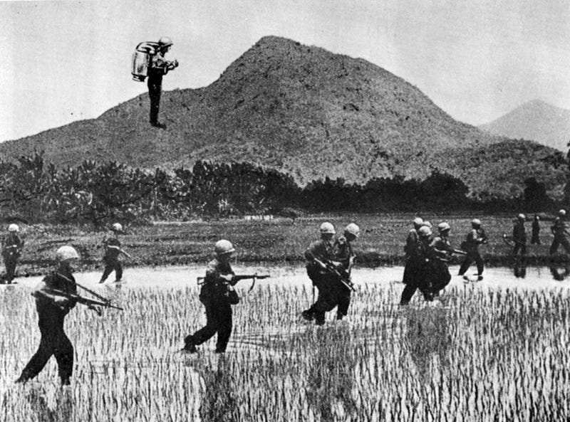 Photo-illustration showing what a jetpack in the rice paddies of Vietnam would look like in 1967